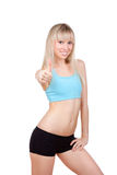 Fitness woman thumb up Stock Image