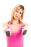 Fitness woman thumbs up Stock Photos
