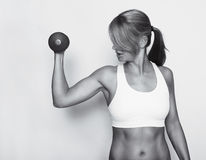 Fitness woman with Top black and white Stock Photography