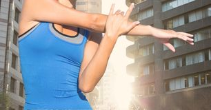 Fitness woman Torso making exercises in the street Stock Photos