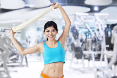 Fitness Woman With Towel Stock Image