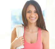 Fitness Woman With Towel Royalty Free Stock Photography