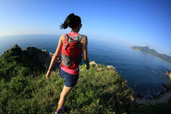 Fitness woman trail runner on seaside mountain trail Royalty Free Stock Photography