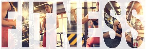 Fitness woman. Fitness training woman Bodybuilding collage at gym stock photo