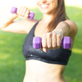 Fitness Woman Training With Dumbbells Royalty Free Stock Photos