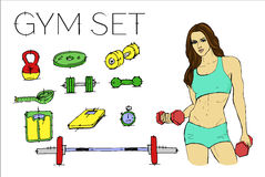 Fitness woman in training. Gym set Royalty Free Stock Image