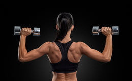 Fitness woman in training muscles of the back with dumbbells. Fitness sporty woman in training pumping up muscles of the back and hands with dumbbells Stock Images