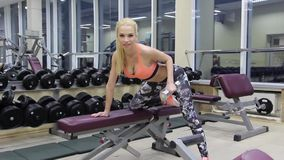 Fitness woman in training.Strong abs showing stock footage