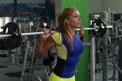 Fitness Woman Using Barbell Exercising Legs Inside Gym stock photo
