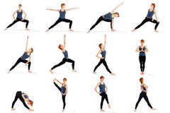 Fitness Woman in Various Standing Yoga Poses Stock Photo