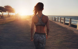 Fitness woman walking on a seaside promenade at sunset. Rear view image of fitness woman in sportswear walking on a seaside promenade at sunset stock photo