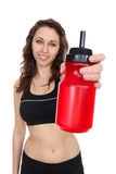 Fitness Woman with Water Royalty Free Stock Photos
