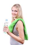 fitness woman with water bottle in hands Stock Image