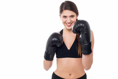 Fitness woman wearing boxing gloves Stock Photo