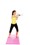 Fitness woman wearing boxing gloves. Stock Photos