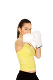 Fitness woman wearing boxing gloves. Stock Images