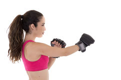Fitness woman wearing boxing gloves. Stock Photo