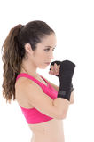 Fitness woman wearing boxing gloves. Stock Image
