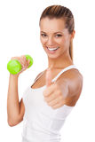 Fitness woman with weight showing thumb up Royalty Free Stock Photo