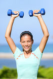Fitness woman weight training outside Royalty Free Stock Image