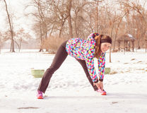 Fitness Woman Winter Activity Royalty Free Stock Photos