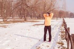 Fitness Woman Winter Activity Stock Photos
