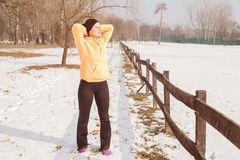 Fitness Woman Winter Activity Royalty Free Stock Images