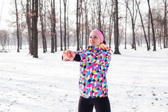 Fitness Woman Winter Activity Royalty Free Stock Image
