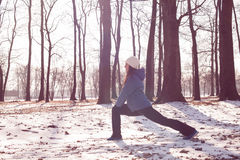 Fitness Woman Winter Activity. Fitness young woman exercise outdoor, winter season healthy activity stock image