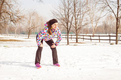 Fitness Woman Winter Activity Stock Images