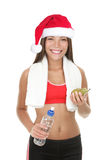 Fitness Woman With Christmas Hat Stock Images