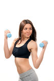 Fitness woman work out with blue dumbbells weights Royalty Free Stock Image
