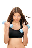 Fitness woman work out with blue dumbbells weights Stock Image