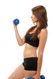 Fitness woman work out dumbbells weights Royalty Free Stock Photo
