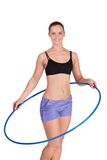 Fitness woman working with hula hoop Stock Image