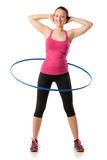 Fitness woman working with hula hoop smiling Royalty Free Stock Photos