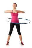 Fitness woman working with hula hoop smiling Royalty Free Stock Images