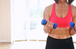 Fitness woman working out with dumbbells Royalty Free Stock Image