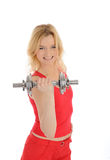 Fitness woman working out with free weights Royalty Free Stock Images