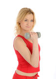 Fitness woman working out with free weights Royalty Free Stock Image