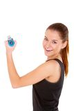 Fitness woman working out with free weights Stock Image