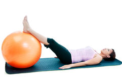 Fitness Woman Workout With Balance Ball Royalty Free Stock Image