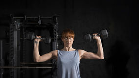 Fitness Woman Workout with Dumbbell Stock Photos