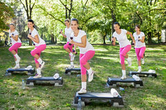Fitness women with dumbbell. Group of Fitness women exercises with dumbbell Stock Photography