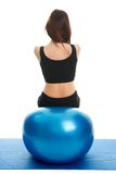 Fitness women exercising on fitness ball Stock Image