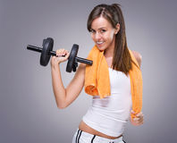 Fitness women hold  dumbbell Royalty Free Stock Photos