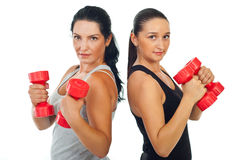 Fitness women holding dumb bell. Two beauty fitness women holding dumb bell isolate don white background Royalty Free Stock Photo