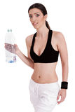 Fitness women holding a water bottle Royalty Free Stock Image