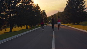 Fitness women running in park. Back view of women group running on park road stock footage