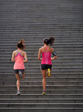 Fitness women running steps royalty free stock images